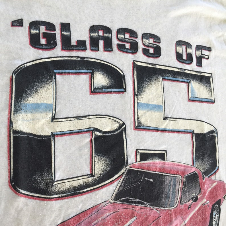 Vintage Car Shirt 80s Size Medium Color White and Red