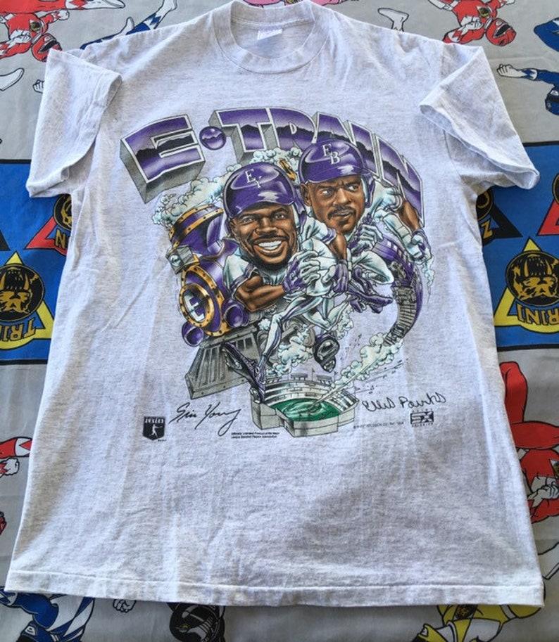 sale retailer d2cc5 8ed5c Vintage Colorado Rockies Baseball Shirt Short Sleeve Graphic Tee E-Train  Burkes Size Large Made In USA