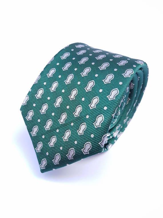 Nalayn Arabesque motif cadeau d'hommes cravate mariage - vert + taches - exempt de soie Nalain Na'layn sandale islamique musulmane Aïd Ramadan - offre de vente
