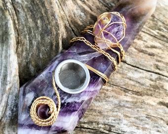 Purple Amethyst Pipe, Custom Pipe, Crystal Pipe, Natural Amethyst, Smoke Pipe, Amethyst Pipe, Wire Wrapped, Girly Pipes, Quartz Crystal Pipe