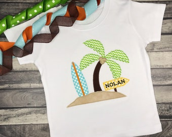 Palm Trees Tropical Leaves Cartoon Holiday Summer Boys Unisex Kids Child T Shirt