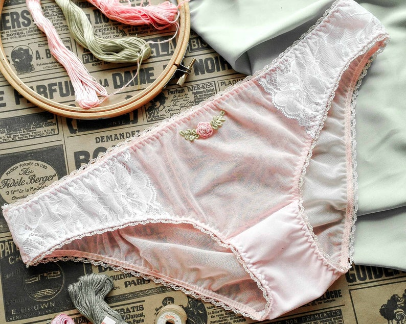 14a7fd31563 AURORA Vintage Inspired Embroidered Briefs Tulle Panties