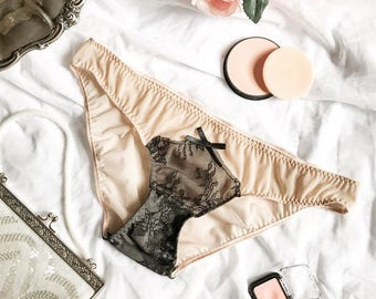 ESTELLE - Nude mesh panties with black lace, Honeymoon lingerie, Sexy knickers, Nude sheer panties, See through lingerie, Made in Italy