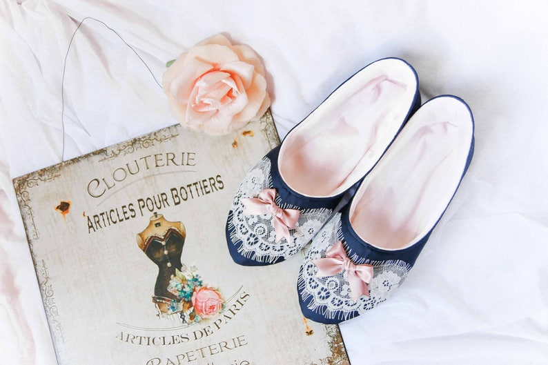 19433a5acfa08 SONYA - Bedroom Boudoir Satin Lace Slippers, Pretty Women Home Shoes,  Bridal Shoes, Gift For Her, Home Clothes, Gift For Mother