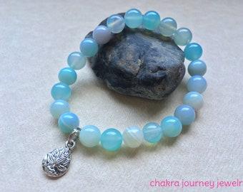 Agate Lotus Gemstone Charm Stretch Bracelet ~ 7 inches ~ sea, blue, yoga, mala, spiritual, bracelets, stack, jewelry, om, balance, spirit