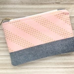 Large Pink and Gold Dot Geometric Nineties Pattern Zippered Pouch, Makeup Bag, Pencil or Pen Storage