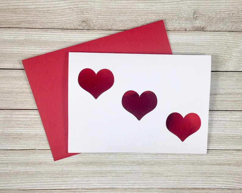Red Foil Triple Heart Valentines Day Card image 0