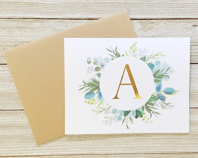Personalized Gift  Gold Foil and Wreath Initial Personalized image 0