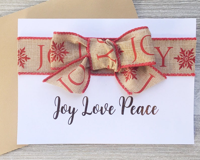 Joy Love Peace Gold Foil Rustic Christmas Card with Ribbon Bow image 0