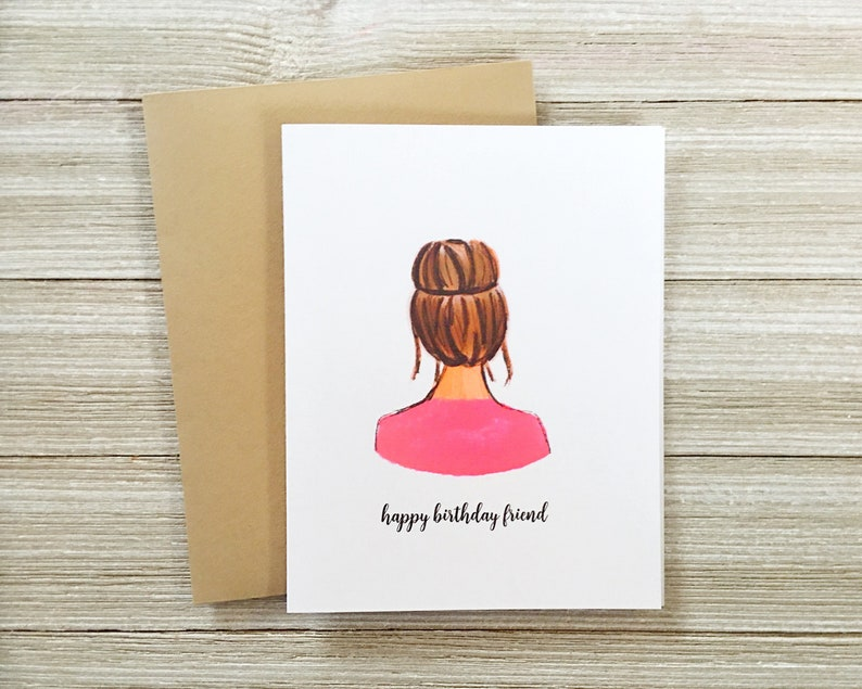 Top Knot Brunette Girl Card  Blank Inside  Perfect for image 0