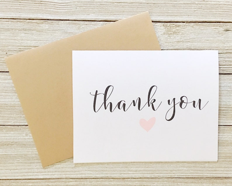 Thank You Card with Heart  Blank Inside  CD-045 image 0