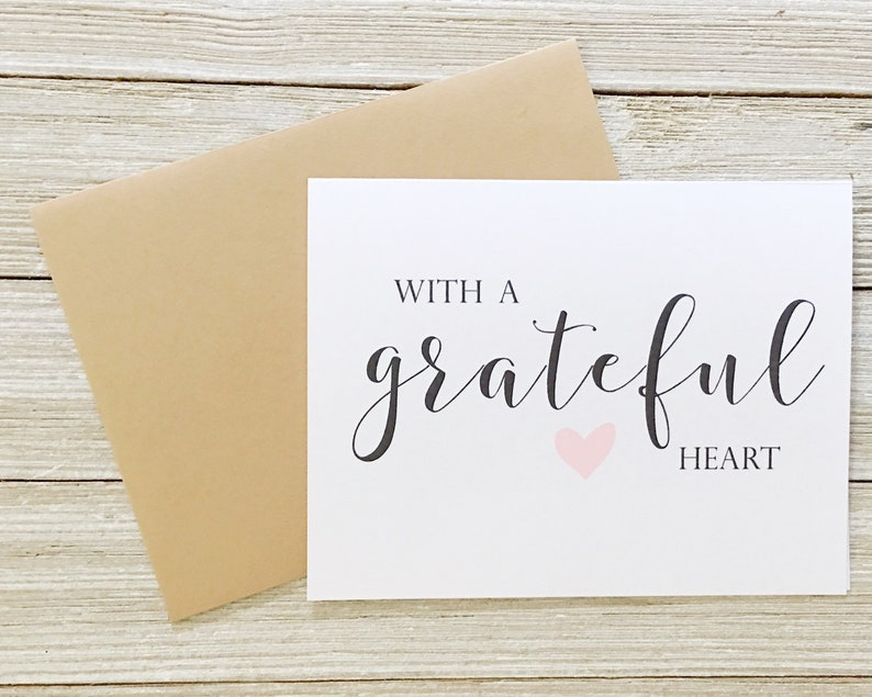 With a Grateful Heart Thank You Card  Gold Foil Thank You image 0