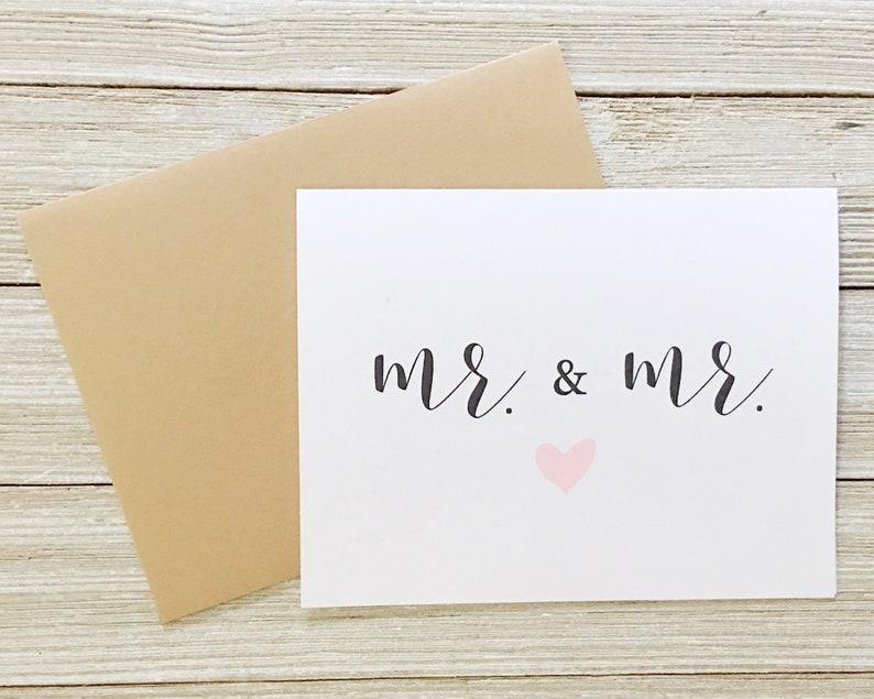 Same Sex Wedding Card  Mr. and Mr. Notecard  CD-044 image 0