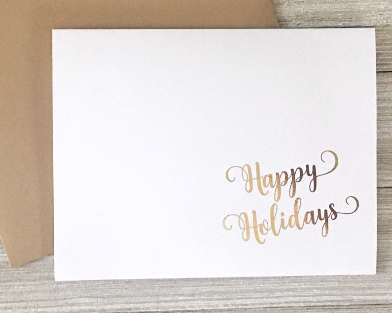 Gold Foil Happy Holidays Card Set  Christmas Notecard Set image 0
