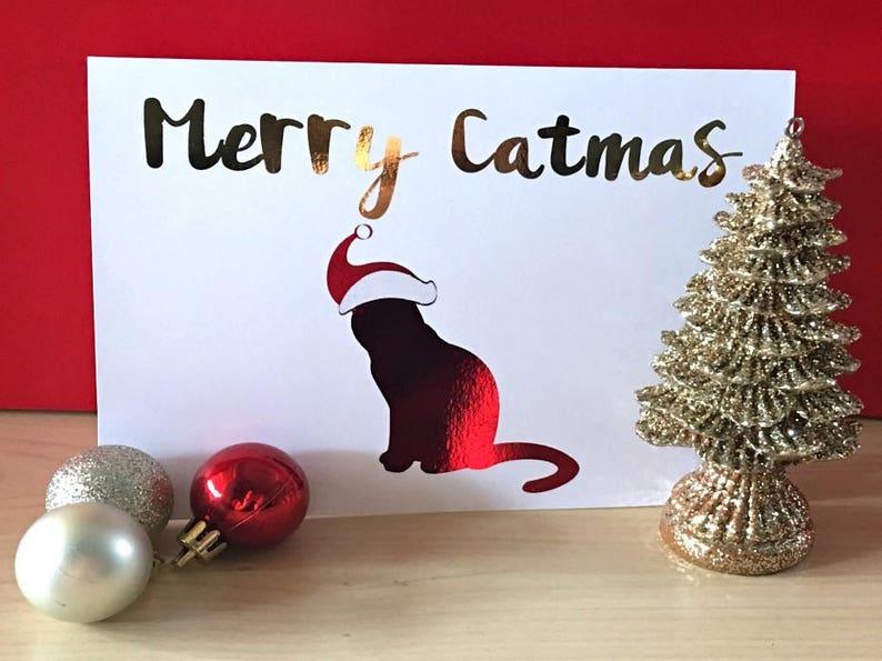 Cat Christmas Card  Merry Catmas Card  Funny Christmas Card image 0