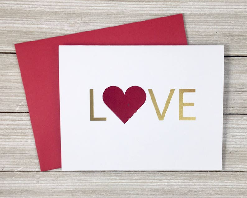 Foil Love Card  Valentines Day Card  Anniversary image 0