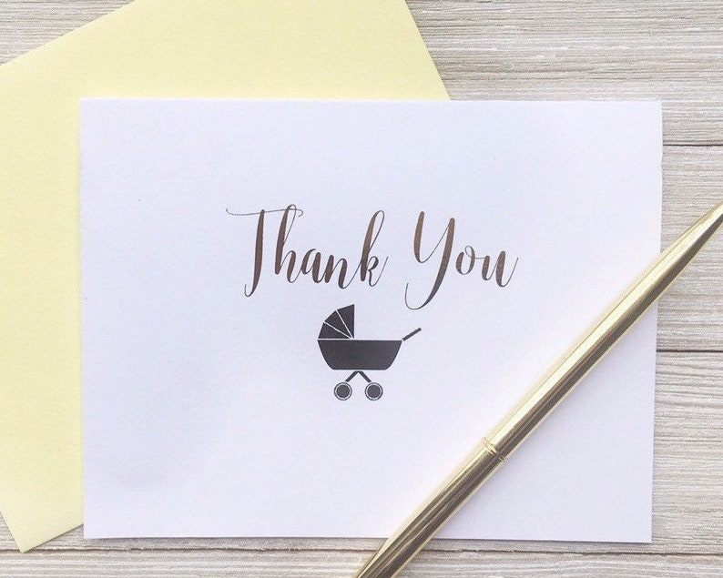 Gender Neutral Baby Shower Thank You Cards Set of Gold Foil Yellow