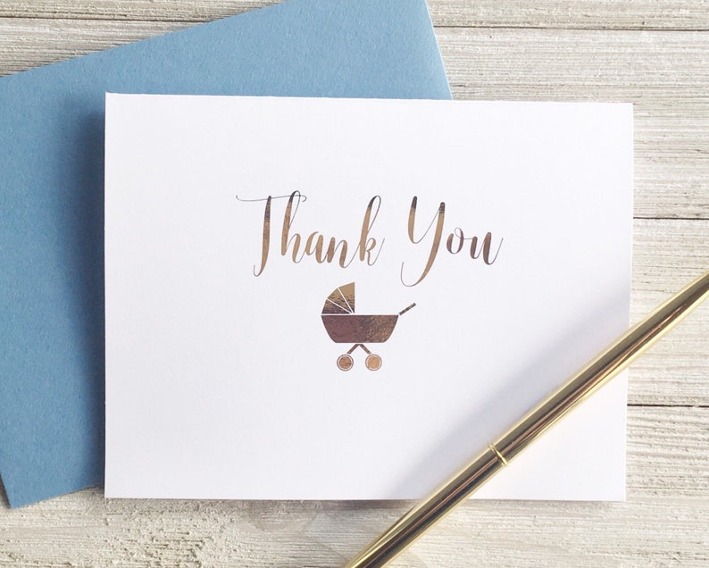 GOLD FOIL Baby Shower Thank You Card for Boy Girl or Gender image 0