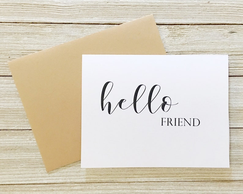 Hello Friend Card  Just Because Greeting Card  Blank Inside image 0