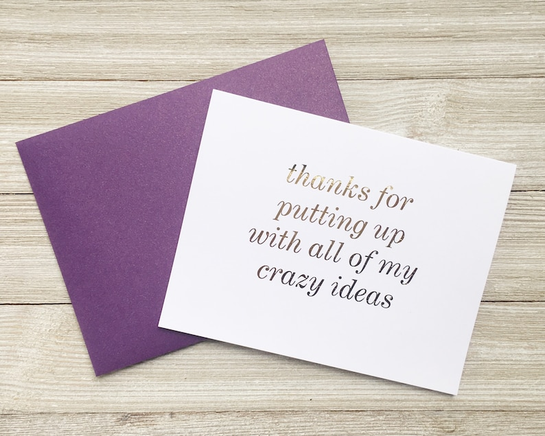 Gold Foil Note Card for Spouse Coworker or Friend  Thanks image 0