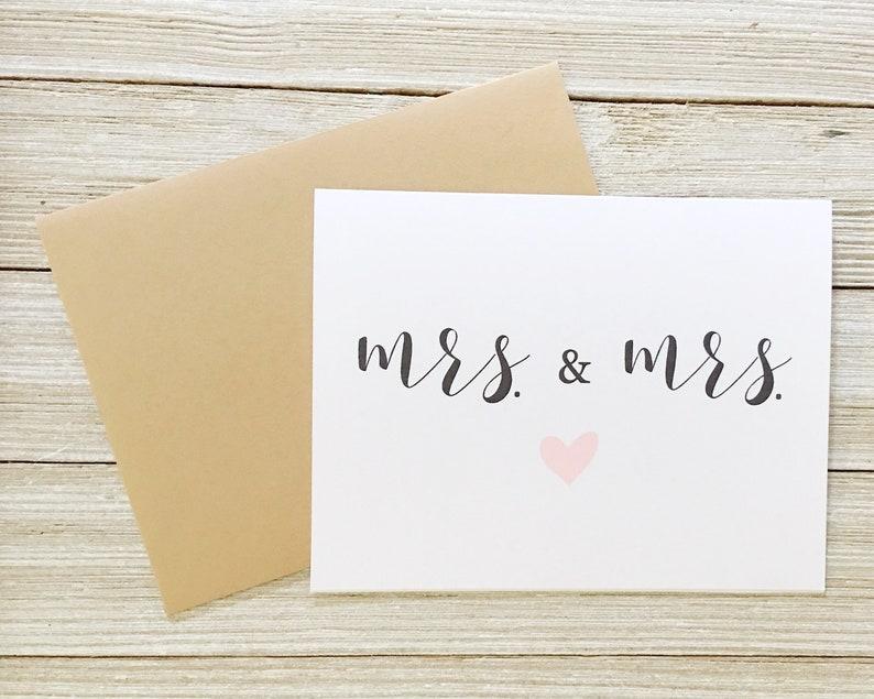 Same Sex Wedding Card  Mrs. and Mrs. Notecard  CD-055 image 0