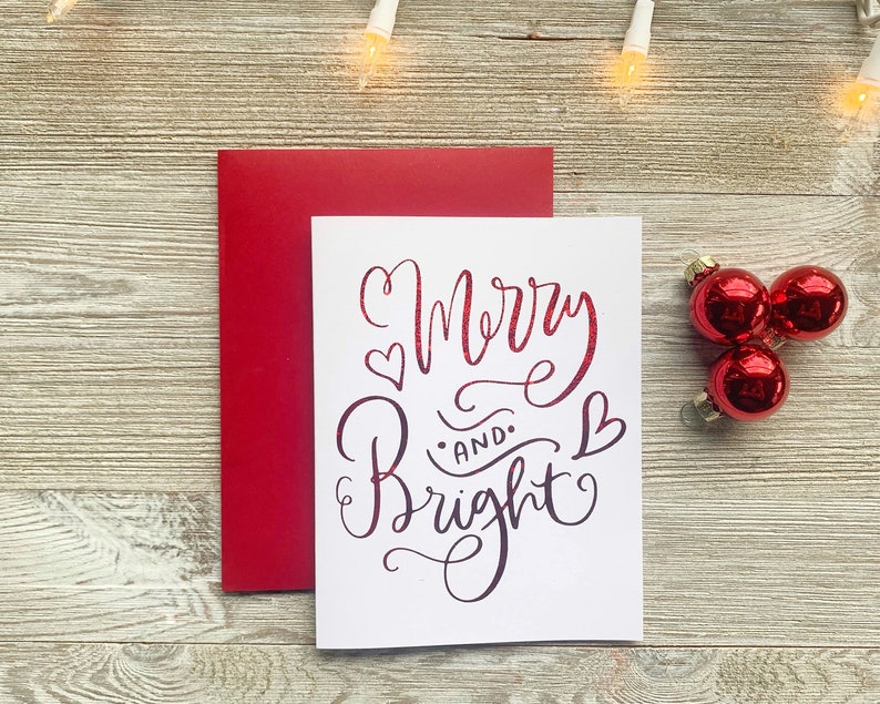 Merry and Bright  Real Foil Cute Christmas Card Handmade  image 0
