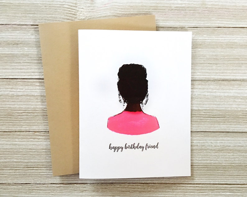 Top Knot Black Girl Card  Curly Hair African American Blank image 0