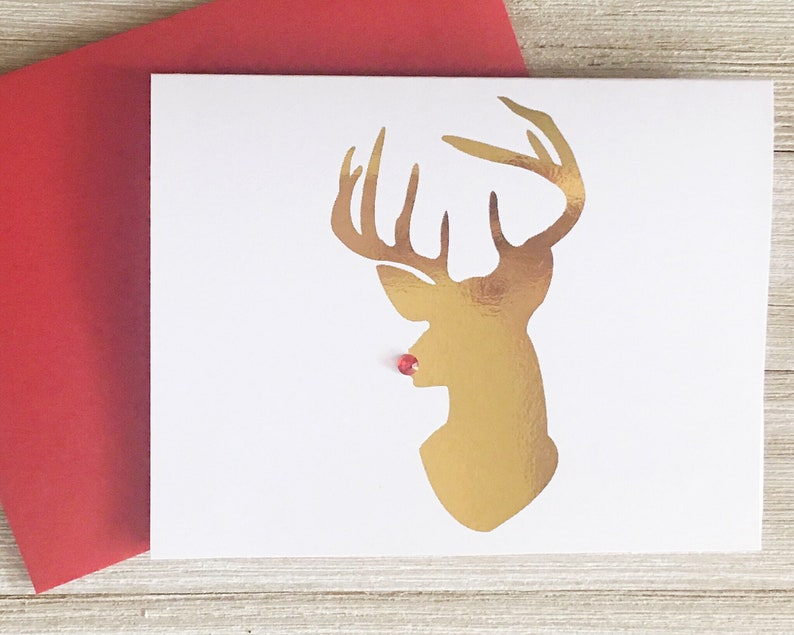 Red Nose Reindeer Christmas Card with Crystal Fun Holiday image 0