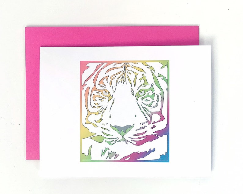 Nineties Greeting Card Rainbow Tiger Blank Note Card with image 0