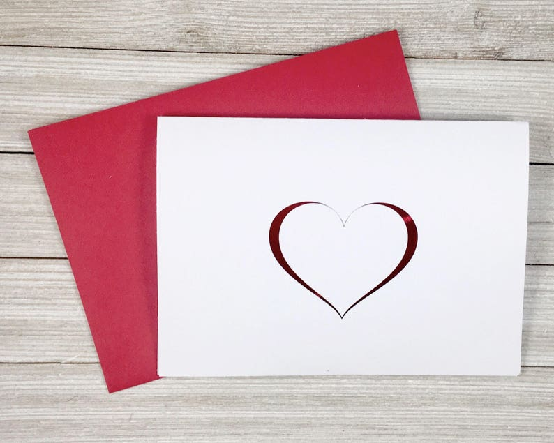 Simple Red Foil Heart Valentines Day Card image 0