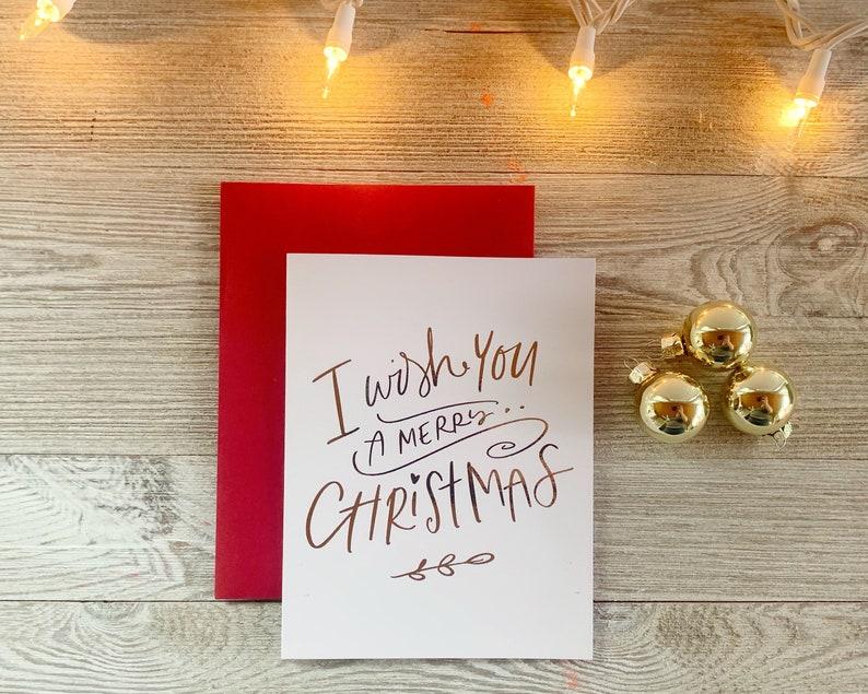 I Wish You a Merry Christmas  Real Foil Cute Christmas Card image 0