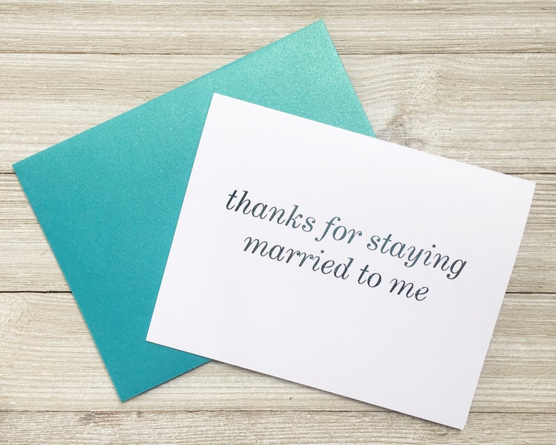 Teal Foil Note Card for Spouse on Anniversary  Thanks for image 0
