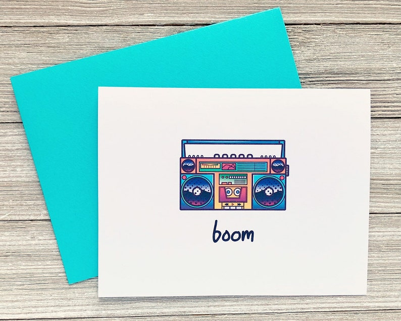 Nineties Greeting Card Boombox Greeting Card 90's Boom image 0