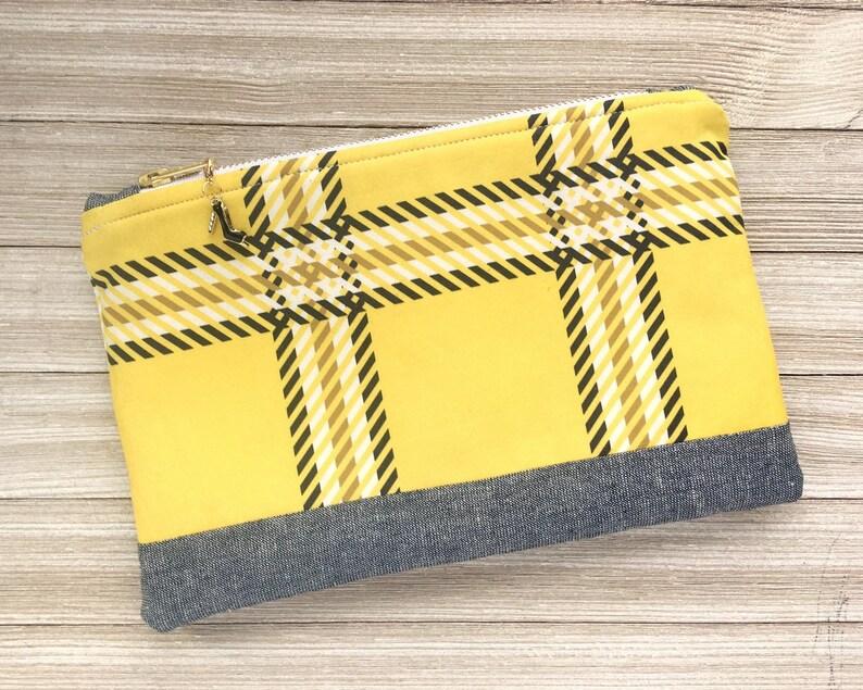 Large Yellow Tartan Zippered Pouch Makeup Bag Pencil or Pen image 0
