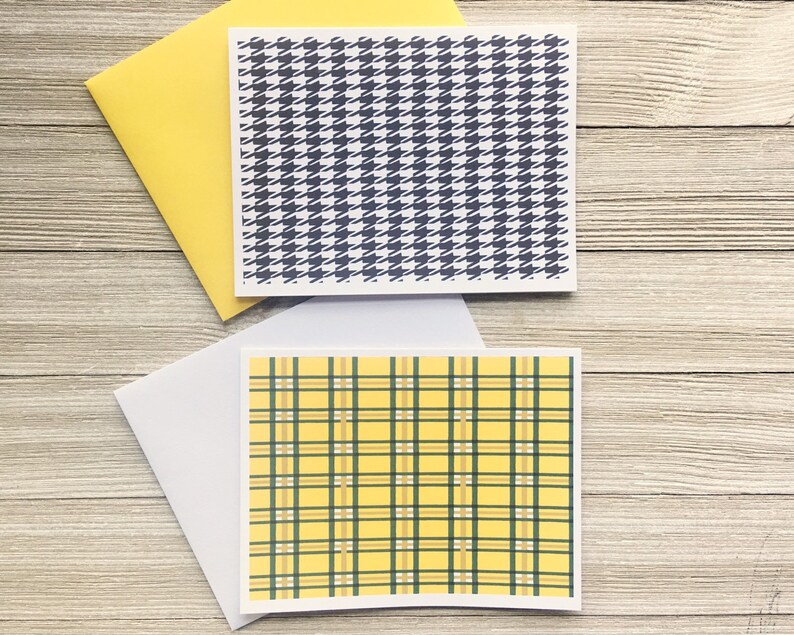 Nineties Greeting Card Yellow Tartan and Black and White image 0