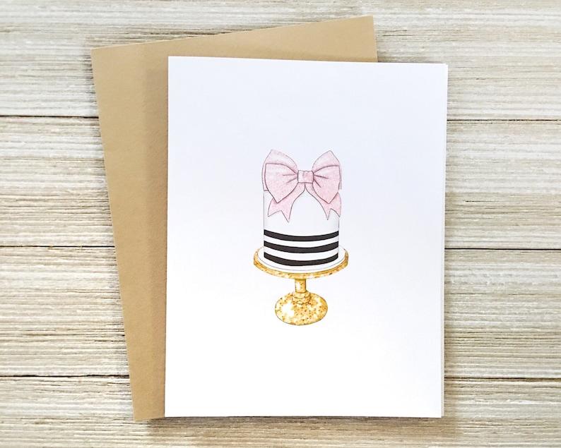 Pretty Cake Birthday Card  Blank Inside Happy Birthday Card  image 0