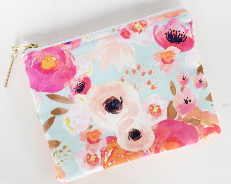 Large Boho Watercolor  Floral Zipper Pouch Makeup Bag  Cute image 0