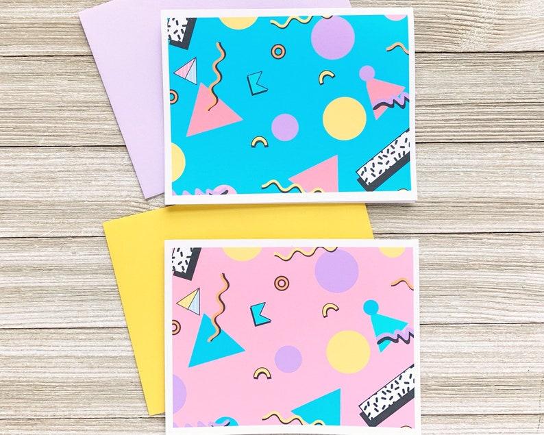 Nineties Greeting Card Geometric Pattern Notecard Set  image 0