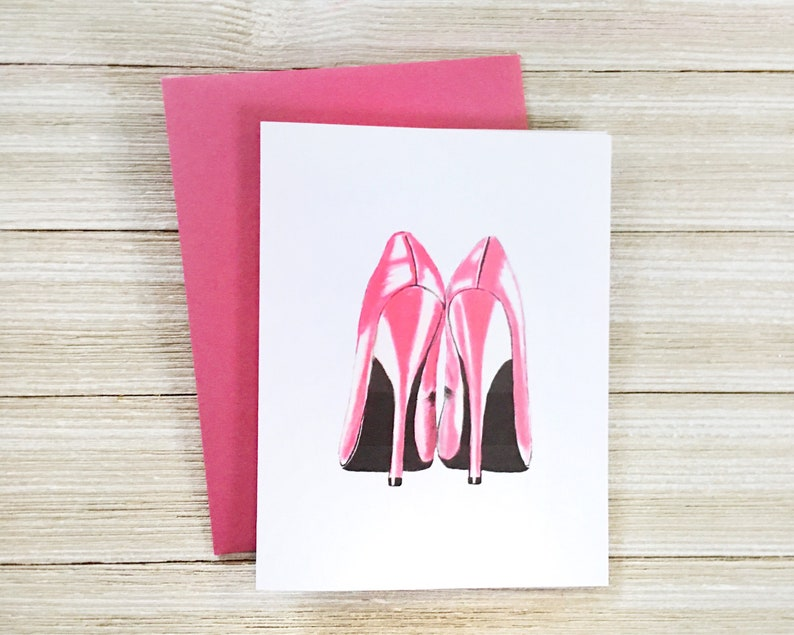 Pink High Heels Card  Blank Inside Happy Birthday Card for image 0