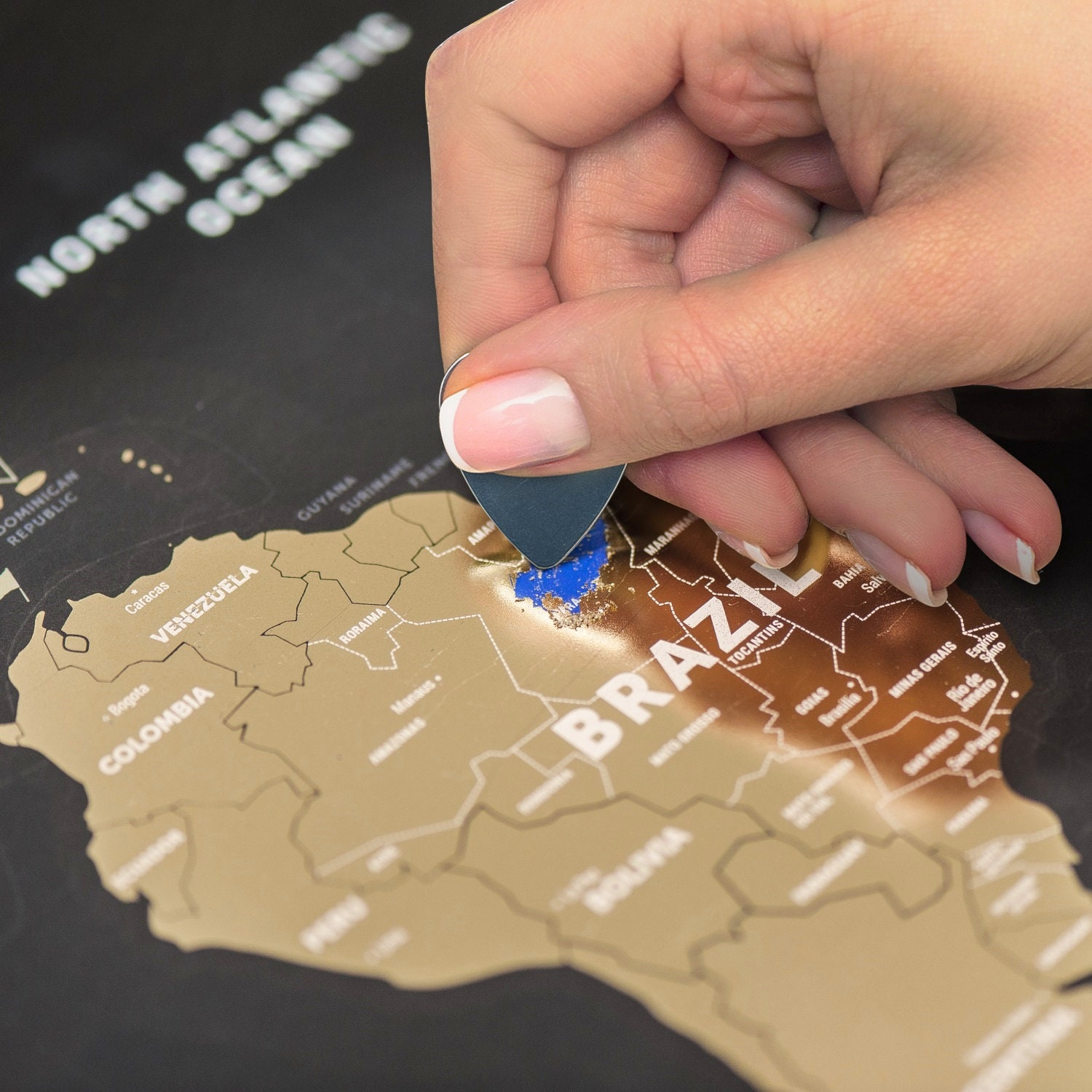 Wanderlust Gift Scratch Off World Map Printed on Flexible