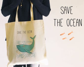 Tote bag, save the ocean, whale, zero waste, school bag