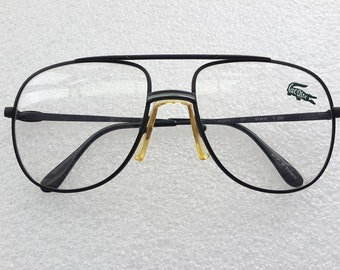d76a5f3c4592 Vintage Lacoste Aviator Eyeglasses Black Carbon Fibre Double Bar with gray  line Retro Collectible Rare Eyeglasses Frame Made In France NOS