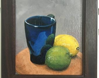 Oil painting, small painting, small oil painting, small framed painting, kitchen painting, small kitchen art, small art, small still life,