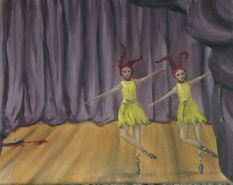 oil painting, small oil painting, painting of dancers, dancers, two dancers, dance art, illustration, small painting of dancer small oil art