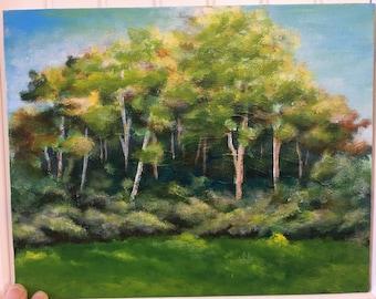 Landscape painting, forest landscape, forest painting, landscape paintings, tree painting, trees, landscape art small acrylic landscape art