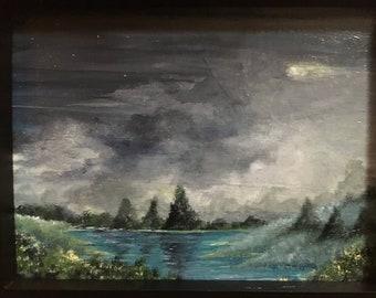 Landscape painting, small landscape painting night landscape acrylic painting tree landscape trees art, lake painting small acrylic painting