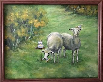 Landscape painting sheep painting animal painting acrylic painting landscape art sheep art small painting birthday painting cake painting