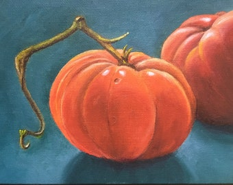Oil painting, small oil painting, painting of tomato, tomato art, small art, tomato, vegetable painting, vegetable art, tomato painting