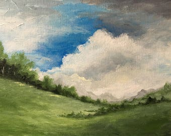 I Will Stay Until the Fall: Landscape painting, small landscape painting, meadow paintings meadow, trees landscape, tree painting, trees art