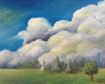 Landscape painting, oil landscape, small painting, oil landscape painting, tree painting, painting of clouds, city painting,  city art